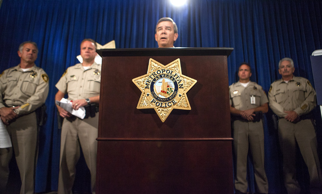 Clark County Sheriff Doug Gillepie during a press conference at Metro Police Department on Monday, June , 2014. Officers Alyn Beck, 41, and Igor Soldo, 31, were eating at CiCi's Pizza Sunday when  ...