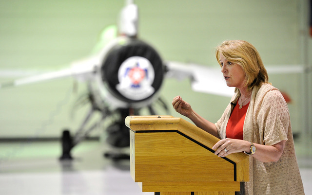Secretary of the Air Force Deborah Lee James speaks speaks with reporters inside the Thunderbird hanger at Nellis Air Force Base on Monday, June 23, 2014. James spent several days touring Nellis a ...