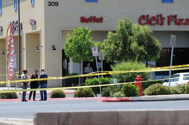 The scene at Cici's Pizza near Nellis Boulevard and Stewart Avenue where two suspects shot and killed two police officers Sunday, June 8, 2014. (Erik Verduzco/Las Vegas Review-Journal)