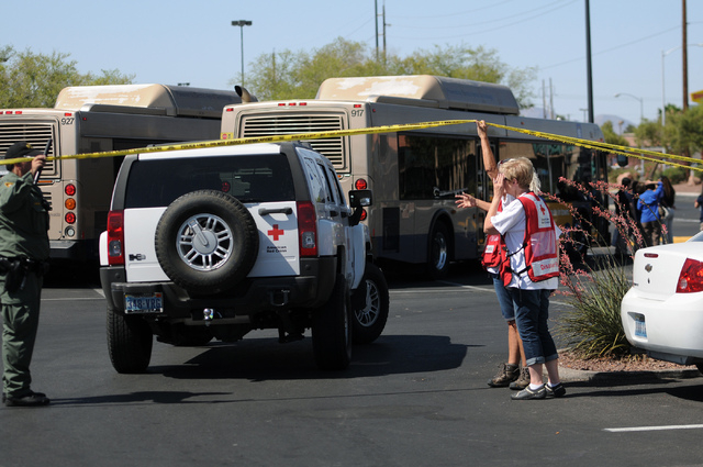 The scene at Walmart near Nellis Boulevard and Stewart Avenue in Las Vegas where two shooting suspects are confirmed deceased after shooting two police officers Sunday, June 8, 2014. (Erik Verduzc ...