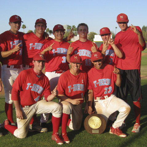 Nine Nevadans played on this year's Mesa CC national baseball championship team. Eight are from Las Vegas. (note: this is the regional championship trophy) FRONT ROW:  Josh Murtha (Faith Lutheran) ...