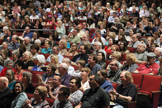 Southern Nevada faith communities and nonprofit organizations attend the second community convention of the Nevadans for the Common Good at Cashman Center Tuesday, May 13, 2014. The event built on ...