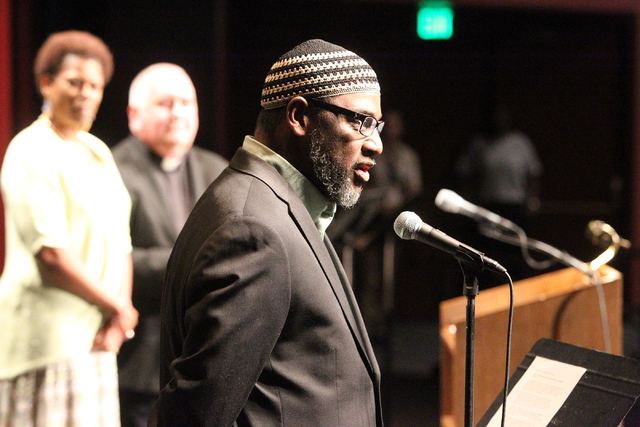 Imam Hanafi Shakur of Masjid As-Sabur gives the opening prayer for the second community convention of the Nevadans for the Common Good at Cashman Center Tuesday, May 13, 2014. The event built on t ...