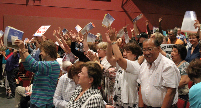 Southern Nevada faith communities and nonprofit organizations cheer when their groups are recognized during the second community convention of the Nevadans for the Common Good at Cashman Center Tu ...