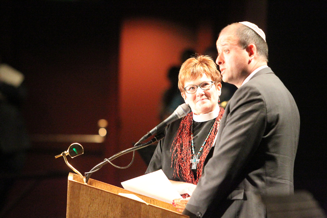 The Rev. Dr. Marta Poling-Goldenne of New Song Lutheran Church, left, and Rabbi Malcolm Cohen of Temple Sinai, speak during the second community convention of the Nevadans for the Common Good at C ...