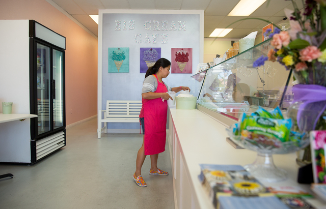 Olive De Vera organizes at Eis Cream Cafe, located at 9711 S. Eastern Ave. on Tuesday, June 17, 2014. The 1,000-square-foot shop, which opened May 29, sells ice cream, cookies and the croissant-do ...