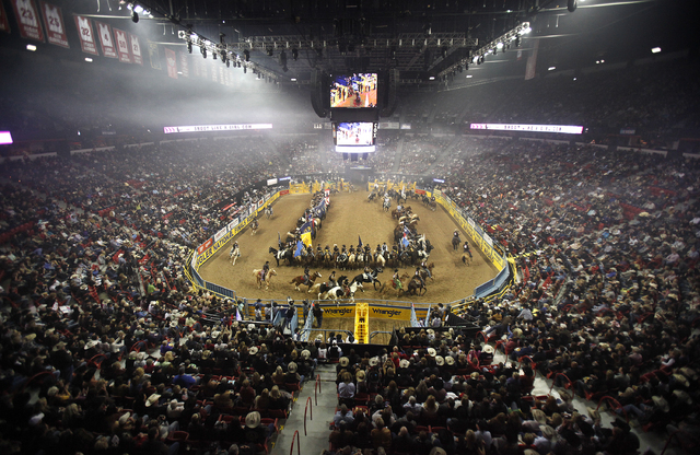 Contestants At The National Finals Rodeo Take Part In Opening Ceremony On First Night