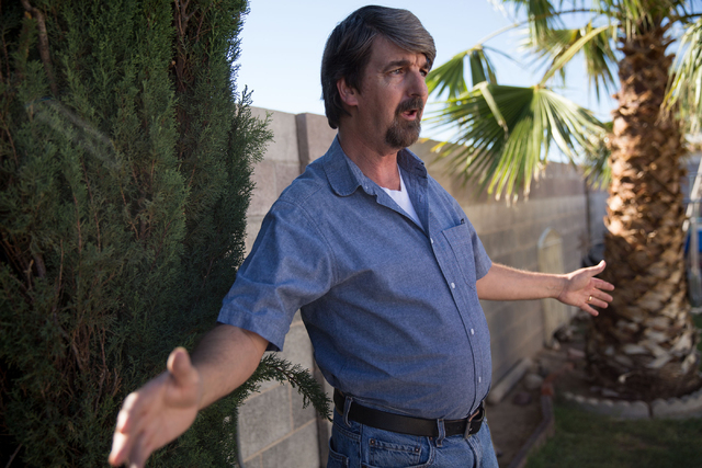 Mark Campbell talks about the impact of pipeline currently under construction to carry wastewater along Sloan Channel at his North Las Vegas home Friday, June 27, 2014. (Samantha Clemens-Kerbs/Las ...