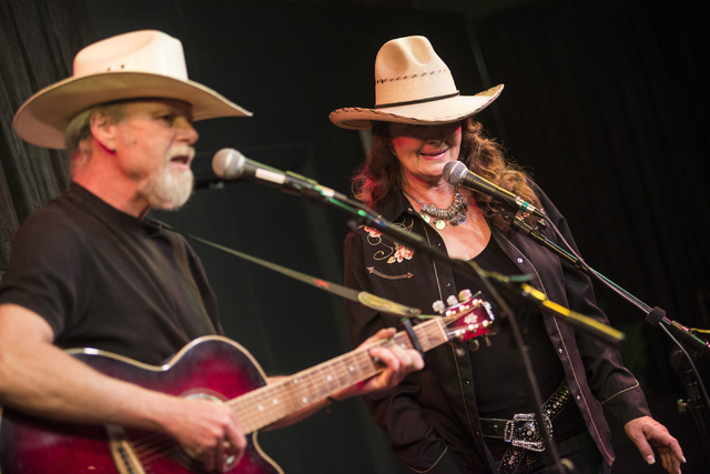 """Singing duo """"Doc and Kit"""" perform during GarageMaHall in Las Vegas on Saturday, May 24, 2014. The event takes place at the home of Richard and Betty Stewart and features traveling musici ..."""