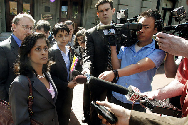 Nusrat Chadoury, lead attorney for the plaintiffs, National ACLU National Security Program, talks with reporters on  May 11, 2012, following oral arguments on the ACLU No Fly List challenge, in Po ...