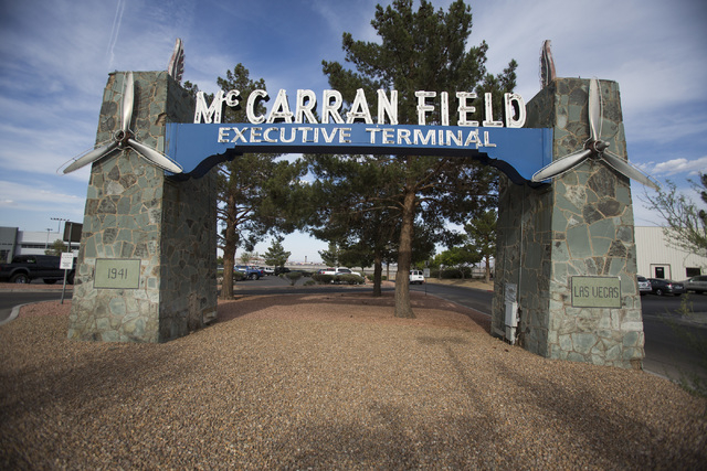 The McCarran Field sign at 6075 South Las Vegas Boulevard as seen Thursday, May 29, 2014. (Jeff Scheid/Las Vegas Review-Journal)