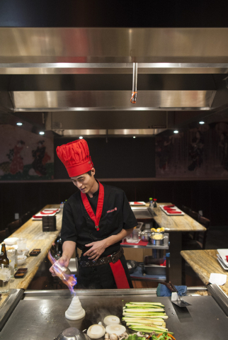 Charlie Fang makes hibachi at Ohjah Japanese Steakhouse in Las Vegas on Saturday, May 24, 2014. The restaurant has been open for over two years and features sushi and hibachi. (Jacob Kepler/Las Ve ...