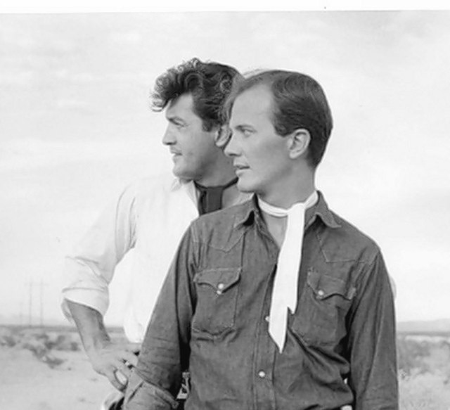 Nelson Sardelli, left, and Pat Boone posed as gunslingers for photographs in the desert near Las Vegas in the 1960s. (Courtesy)