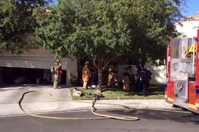 Las Vegas firefighters responded to a house fire Tuesday afternoon in Pecolle Ranch, near Red Hills Road and South Fort Apache Road. (Courtesy/Las Vegas Fire Department)