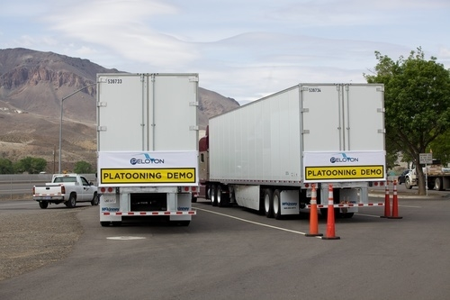courtesy photo Two tractor-trailer rigs operated by Peloton Technology employees conducted a demonstration for state officials in Northern Nevada last month.