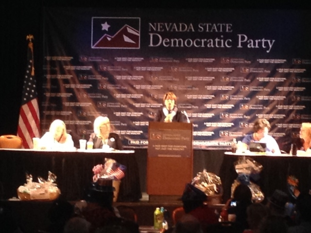 Sen. Amy Klobuchar delivers the keynote speech at the Democratic Convention. (Whip Villarreal, Las Vegas Review-Journal)