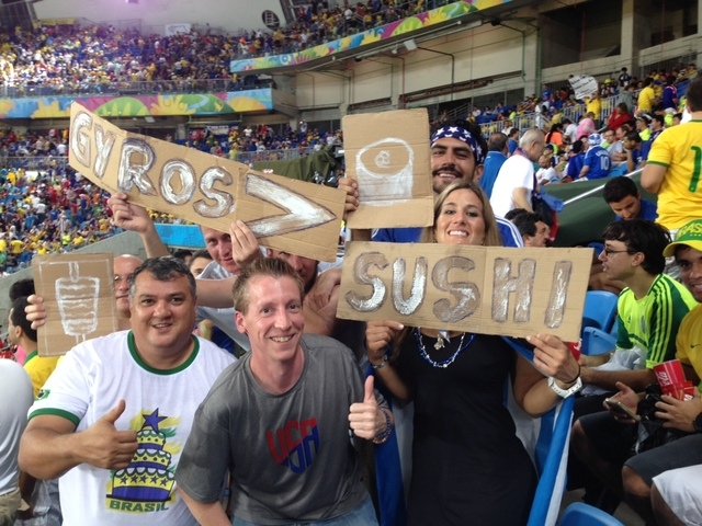 Fans of Greece show their support at the match with Japan. (Brennan Karle)