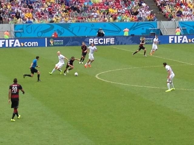 Germany and the U.S.A. in action at Arena Pernambuco. (Brennan Karle)