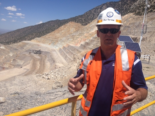 Cortez Open Pit Manager Mark Rantapaa talks about the process of removing tons of material to get to the gold-bearing ores at the Cortez HIlls mine 70 miles southwest of Elko. (Sean Whaley/Las Veg ...