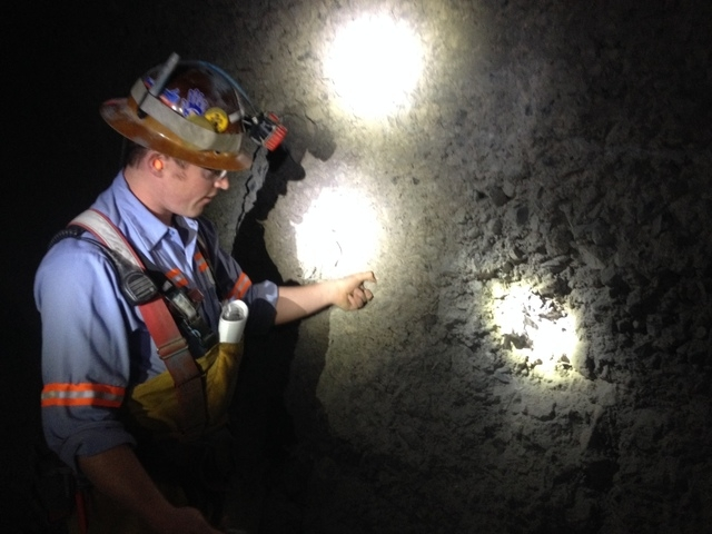 Cortez Hills underground mining engineer Matt Wilson explains how sprayed on concrete is used to reinforce the tunnels where gold ore is being mined at the property 70 miles southwest of Elko. (Se ...