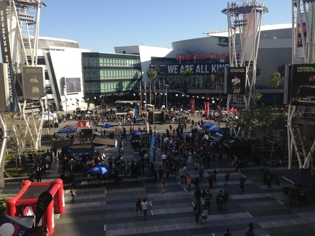 Fans gather at LA Live sports and entertainment center, which was built by AEG, before a Los Angeles Kings-Anaheim Ducks Stanley Cup playoff game last month. (Alan Snel/Las Vegas Review-Journal)