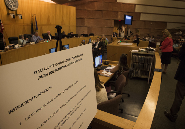 Clark County Commissioners listen during final day of  of presentations from applicants seeking medical marijuana dispensary permits at  Clark County Government Center, 500 S. Grand Central Parkwa ...