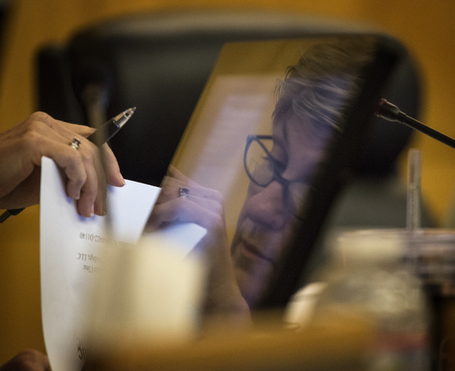 Clark County Commissioner Chris Giunchigliani listens during final day of presentations from applicants seeking medical marijuana dispensary permits at the Clark County Government Center on Friday ...