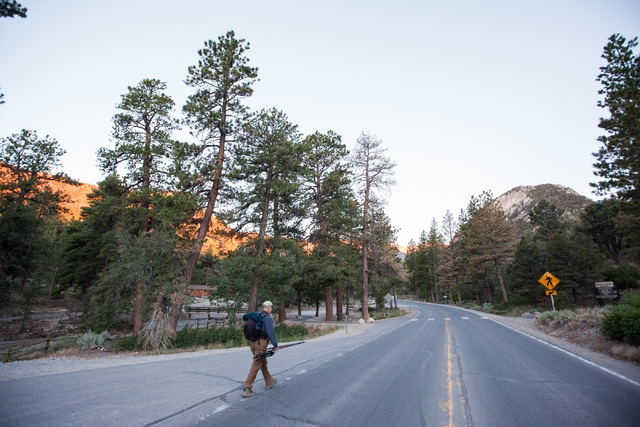 Fred Bell carries his sound recording equipment before hiking up Fletcher Canyon at Mount Charleston on Thursday, June 19, 2014. Bell goes to various areas to record the sounds of nature, usually  ...