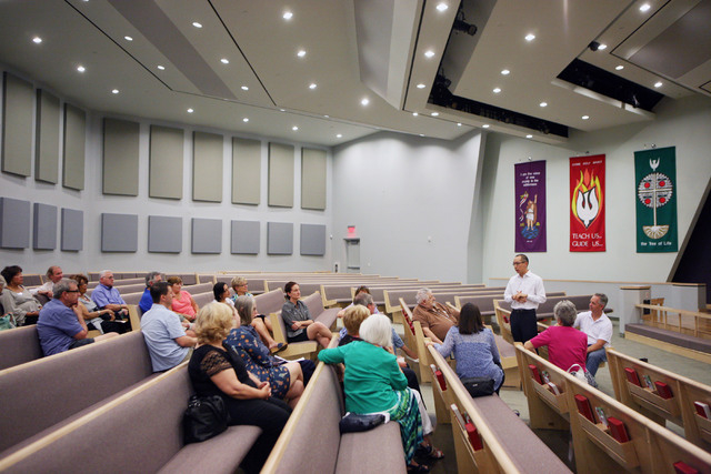 A Nevadans for the Common Good meeting takes place at Desert Springs United Methodist Church, located at 120 N. Pavilion Center Drive, Sunday, June 1, 2014, in Las Vegas. Nevadans for the Common G ...