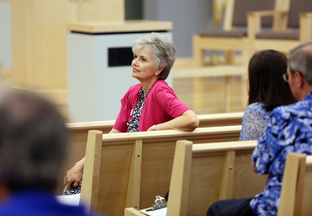 Sandy Varney speaks during a Nevadans for the Common Good meeting at Desert Springs United Methodist Church, located at 120 N. Pavilion Center Drive, Sunday, June 1, 2014, in Las Vegas. Nevadans f ...