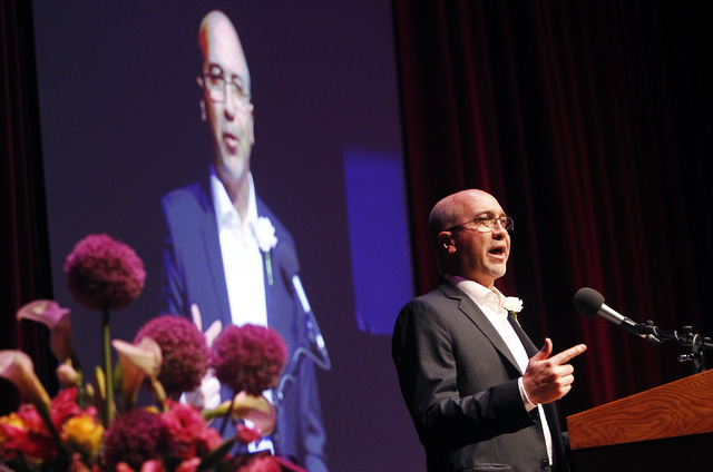 Perry Rogers speaks during the memorial service for his father, the late Jim Rogers, at Ham Concert Hall at UNLV in Las Vegas on Saturday, June 21, 2014. (Jason Bean/Las Vegas Review-Journal)