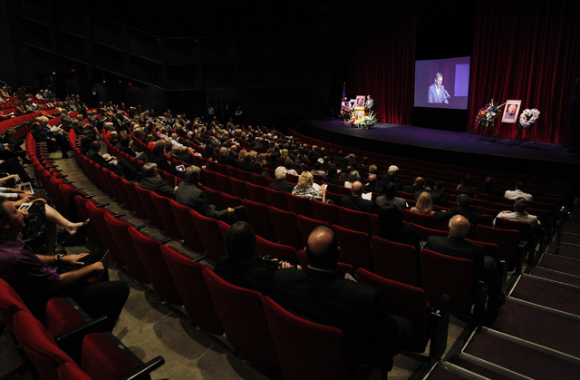 Hundreds of people attend the memorial service for the late Jim Rogers at Ham Concert Hall at UNLV in Las Vegas on Saturday, June 21, 2014. (Jason Bean/Las Vegas Review-Journal)