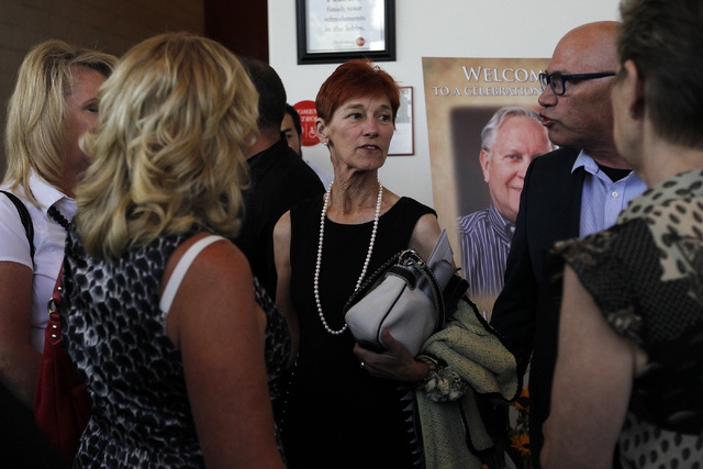 Beverly Rogers, middle, wife of Jim Rogers, speaks with friends and family following the memorial service for her husband, the late Jim Rogers, at Ham Concert Hall at UNLV in Las Vegas on Saturday ...