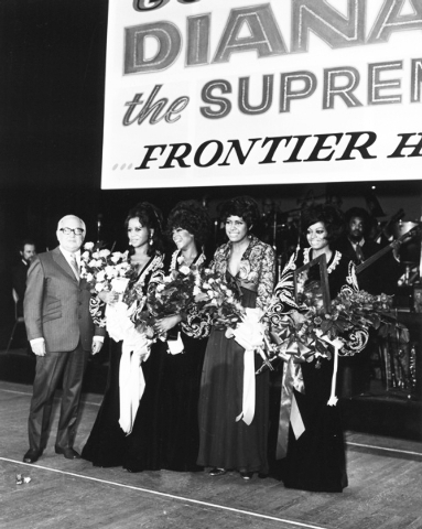 Diana Ross, far right, appears on stage at the New Frontier on Jan. 14, 1970, her last night with the Supremes. (Las Vegas News Bureau)