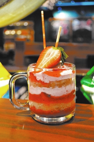Mug of Strawberry Shortcake at Seafood Shack, Treasure Island: Fresh strawberries and strawberry sauce are layered with moist vanilla-bean cake and strawberry whipped cream. (Courtesy)