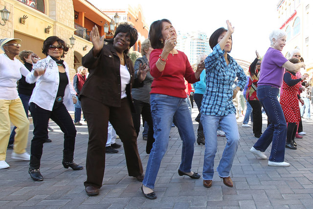 Seniors dance in a flash mob at Tivoli Village on Feb. 25, 2012. Clark County's over-65 crowd grew by nearly 6 percent in 2013, according to census figures released Thursday. The county population ...