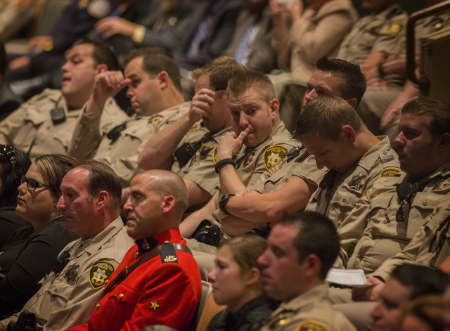Law enforcement officers during the memorial service for fallen officer Igor Soldo,  at Canyon Ridge Christian Church,  6200 W Lone Mountain Road on Thursday, June 12,2014.  Soldo and officer Alyn ...