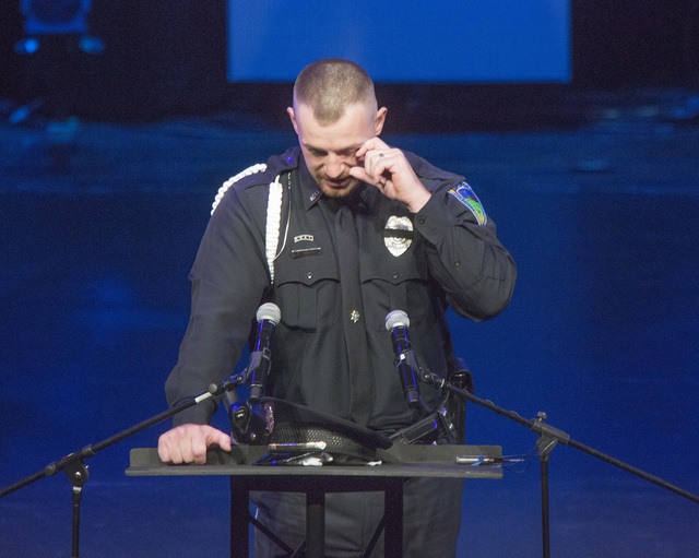 Robert Soldo, center, brother of Las Vegas police officer Igor Soldo,  speaks during memorial service for his brother  at Canyon Ridge Christian Church,  6200 W Lone Mountain Road on Thursday, Jun ...