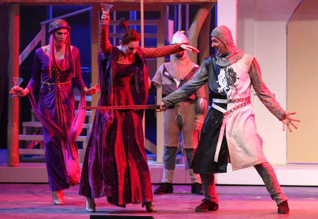Steve Huntsman as Sir Lancelot, right, performs with the cast during dress rehearsal for Spamalot at Spring Mountain Ranch in Blue Diamond, Nev.  on Monday, June 9, 2014. (Chase Stevens/Las Vegas  ...