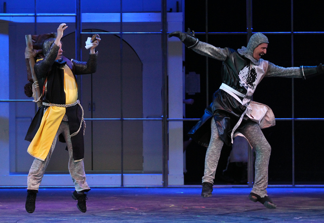 Michael Drake, left, as Concorde and Steve Huntsman as Sir Lancelot, right, perform during dress rehearsal for Spamalot at Spring Mountain Ranch in Blue Diamond, Nev.  on Monday, June 9, 2014. (Ch ...