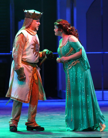 Glenn Heath as King Arthur, left, performs with Sandra Huntsman as Lady of the Lake during dress rehearsal for Spamalot at Spring Mountain Ranch in Blue Diamond, Nev.  on Monday, June 9, 2014. (Ch ...