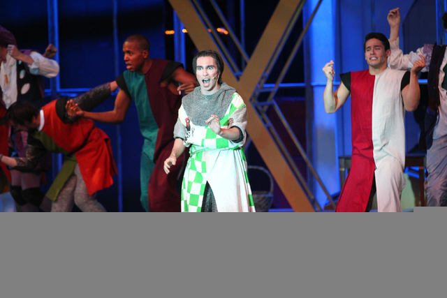 Scott Gibson as Sir Robin, center, performs with the cast during dress rehearsal for Spamalot at Spring Mountain Ranch in Blue Diamond, Nev.  on Monday, June 9, 2014. (Chase Stevens/Las Vegas Revi ...