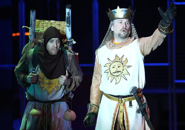 Evan Litt, left, as Patsy and Glenn Heath as King Arthur, perform during dress rehearsal for Spamalot at Spring Mountain Ranch in Blue Diamond, Nev.  on Monday, June 9, 2014. (Chase Stevens/Las Ve ...