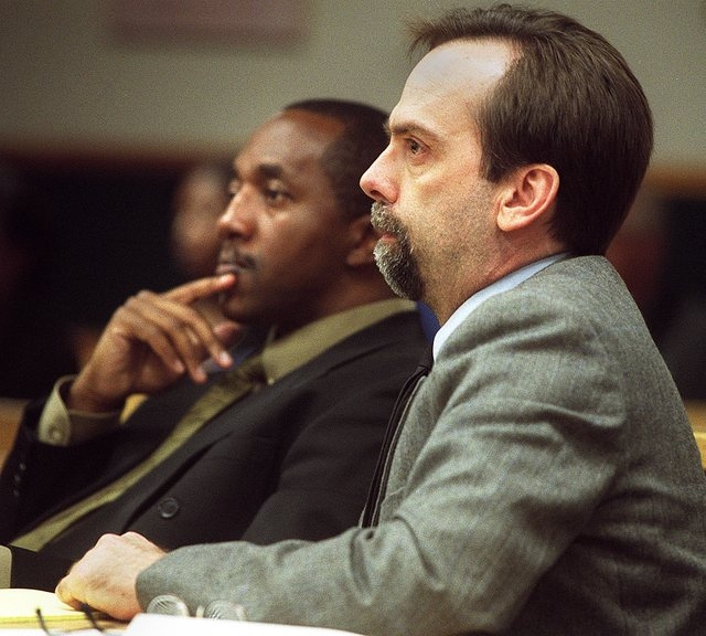 Attorney Stanley Walton, left, sits next to his client Clarence Dozier in Clark County District Court on June 25, 2001. Walton, a longtime lawyer sentenced to federal prison in a mortgage fraud sc ...