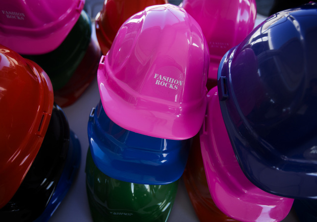 Hard hats as send Thursday, May 15, 2014 during the tour at  Downtown Summerlin at Sahara Avenue and I-215. The first phase of the development will include 1.6 million square feet on retail featur ...