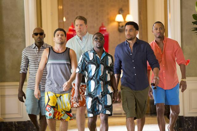 "Zeke (Romany Malco), Bennett (Gary Owen) , Michael (Terrence J), Jeremy (Jerry Ferrara), Zeke (Romany Malco) and Dominic (Michael Ealy) walk down the hallway of Caesars Palace in  ""Think Like a Ma ..."