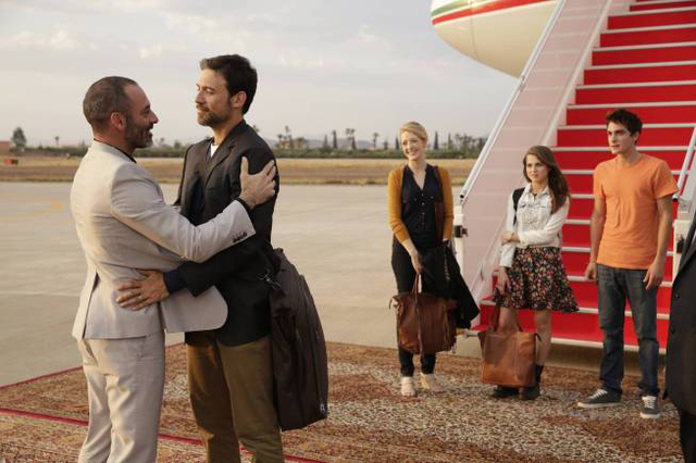 "From left, Ashraf Barhom as Jamal, Adam Rayner as Barry, Jennifer Finnegan as Molly, Anne Winters as Emma and Noah Silver as Sammy star in FX's ""Tyrant."" (Patrick Harbron/FX)"