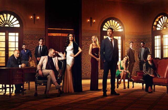 From left, Salim Daw as Yussef, Mehdi Dehbi as Abdul, Noah Silver as Sammy, Ashraf Barhom as Jamal, Moran Atias as Leila, Jennifer Finnigan as Molly, Adam Rayner as Barry, Anne Winters as Emma, Ju ...