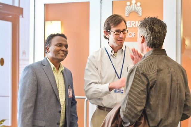 Oakland, Calif.'s Crest Network physicians and researchers Uli Chettipally, left, and co-chairmen Dustin Ballard, center, and David Vinson discuss technology strategy for their upcoming multi-cent ...