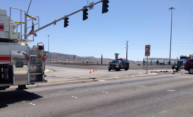 One person died in an accident Thursday on the Auto Show Drive ramp at U.S. Highway 95. (Courtesy/Nevada Highway Patrol)